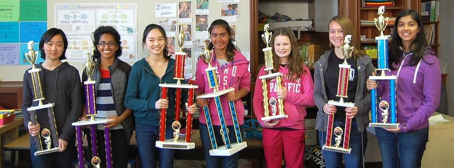 Girls' Championship Winners from left: Ronna Min, Divija Hasteer, Sophia Li, Aria Lakhmani, Reka Sztaray, Lindsay Kornguth, Jahnavi Rati